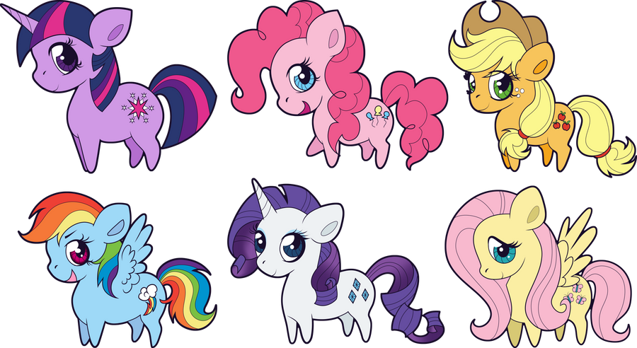 Chibi Mane Six by Squeemishness