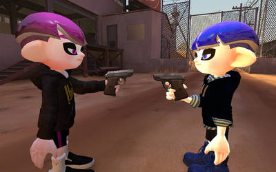 Octolings pointing with a gun by Marihuano54