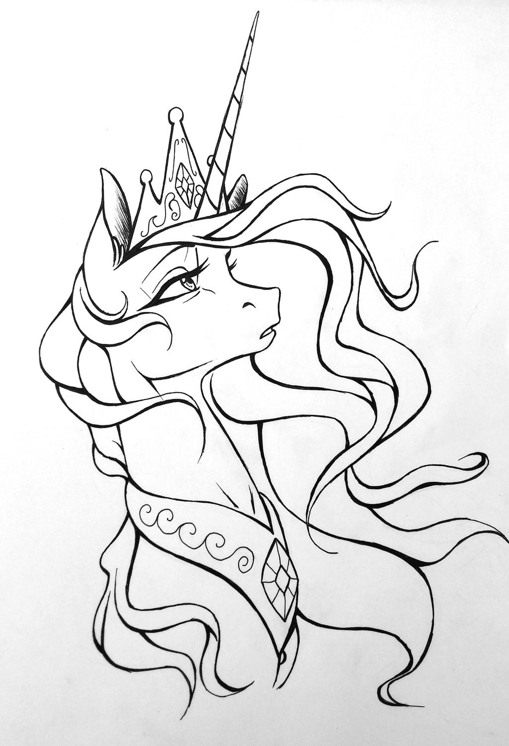 Line Work Art : Majestic princess celestia linework by drawerfun on