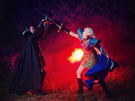 Record of Lodoss War: Deedlit and Ashram fight