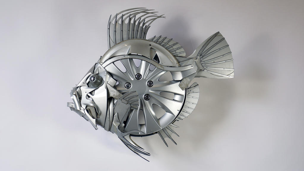 John Dory Fish Sculpture by HubcapCreatures