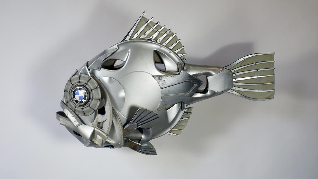RoughFish Fish Sculpture by HubcapCreatures
