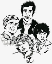 Richie, Laverne, Shirley and The Fonz by Smokebutt