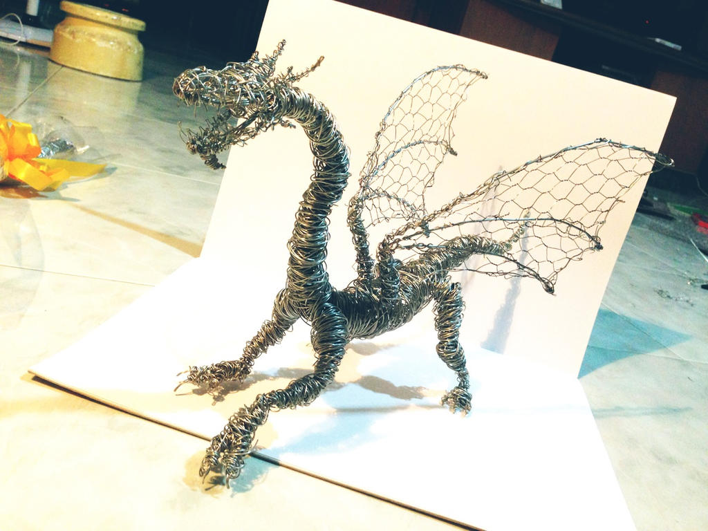 Dragon wire sculpture by firedoggy on deviantart for How to make a wire sculpture