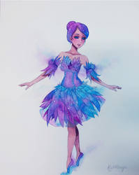 Watercolour painting - Astral's Galaxy Gown by KatManga03