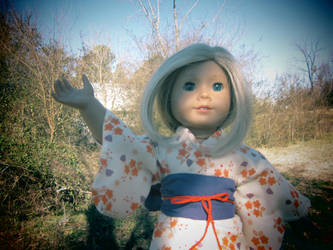Purple, Cream and Orange American Girl Doll Yukata by MorichansGarden