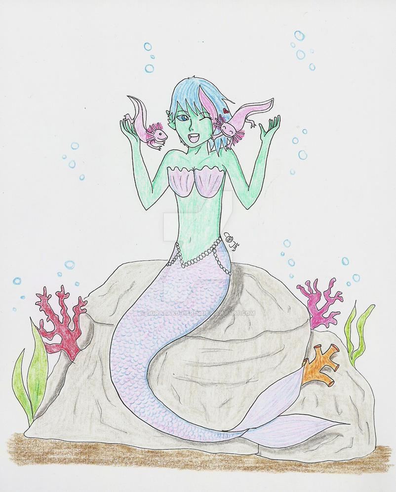 The mermaid and the axolotls by sorasaku-hermi