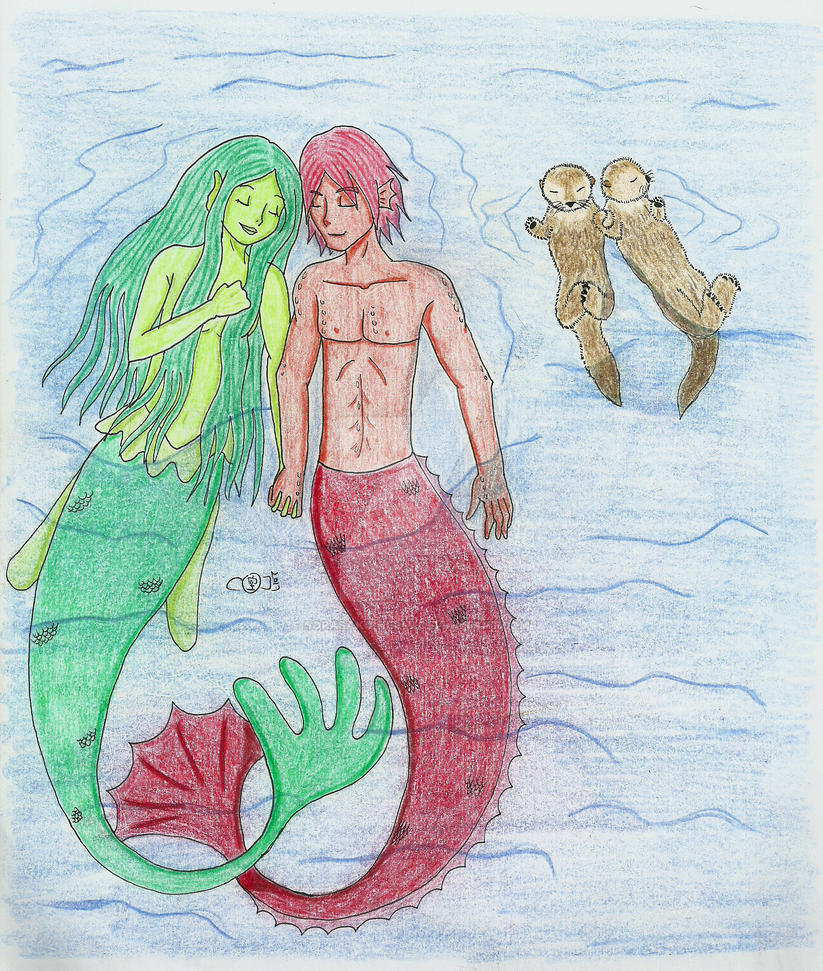 Floating with the otters by sorasaku-hermi