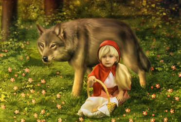 Little red riding hood and grey wolf by Amedeya