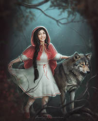 Little Red Riding Hood and the Gray Wolf by Amedeya