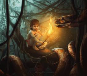 Hot meeting of Mowgli and Kaa. by Amedeya