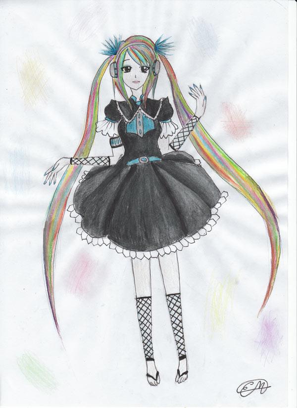 Rainbow Hatsune Miku by BloodStainedMiku
