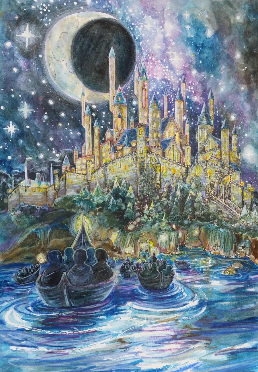 Harry Potter Book Art Hogwarts Arriving at Hog...
