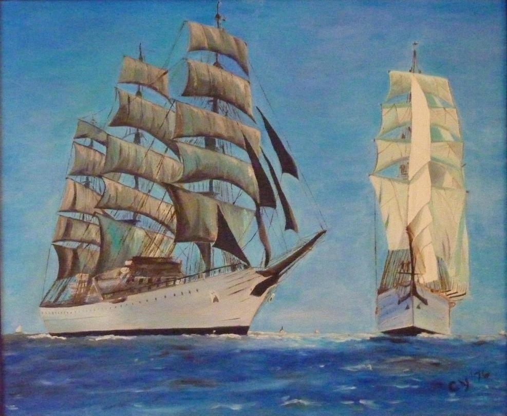 Tall Ships in Oil by CarolynYM