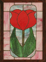 Red Tulip in Stained Glass by CarolynYM