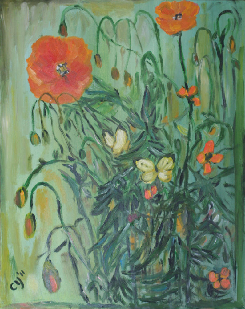 Poppies and Butterflies by CarolynYM
