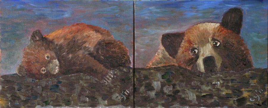 Mother Bear and Cub by CarolynYM