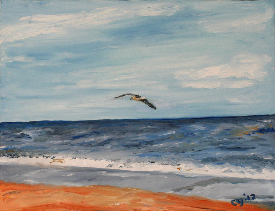 Bird over Beach by CarolynYM