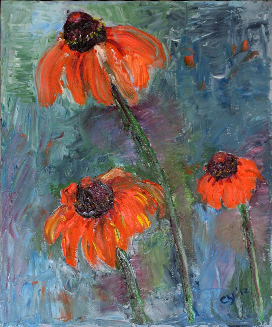 Orange Cone Flowers by CarolynYM