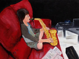 Spencer playing Saxophone