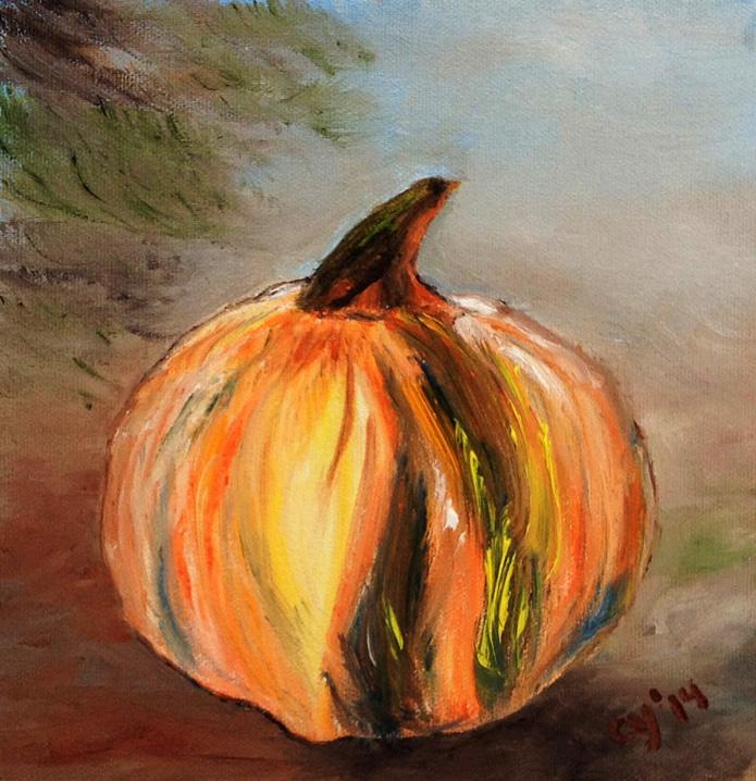Glass Pumpkin in Oil by CarolynYM