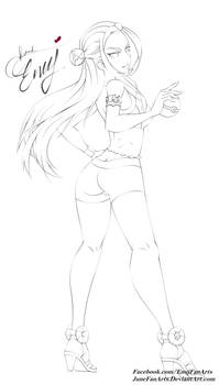 Nessa lineart from Pokemon Sword and Shield