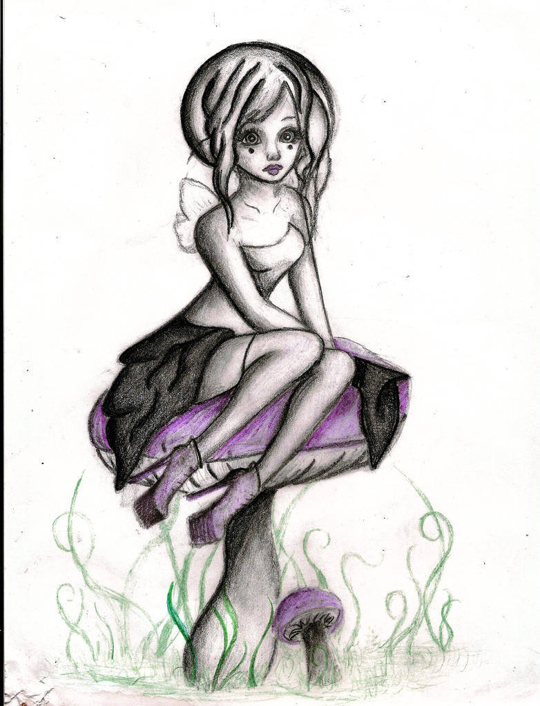 Fairy girl sitting on mushroom by bitterdarkangel on for Fairy on a mushroom drawing