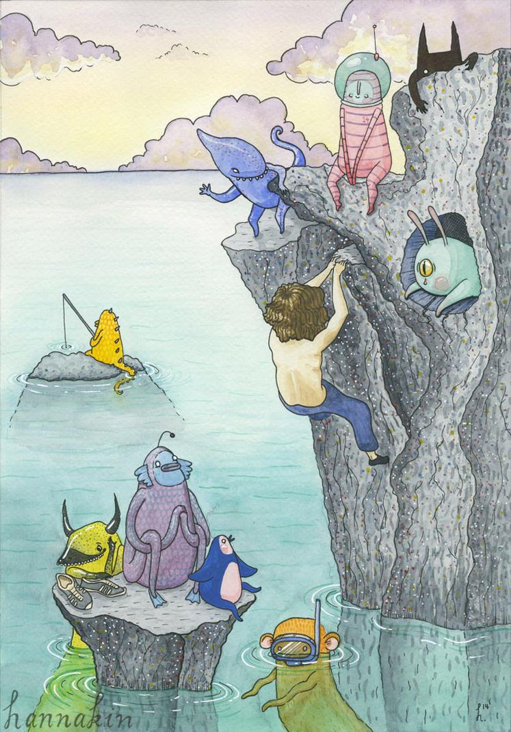 Rock Climb - COMMISSION by Hannakin