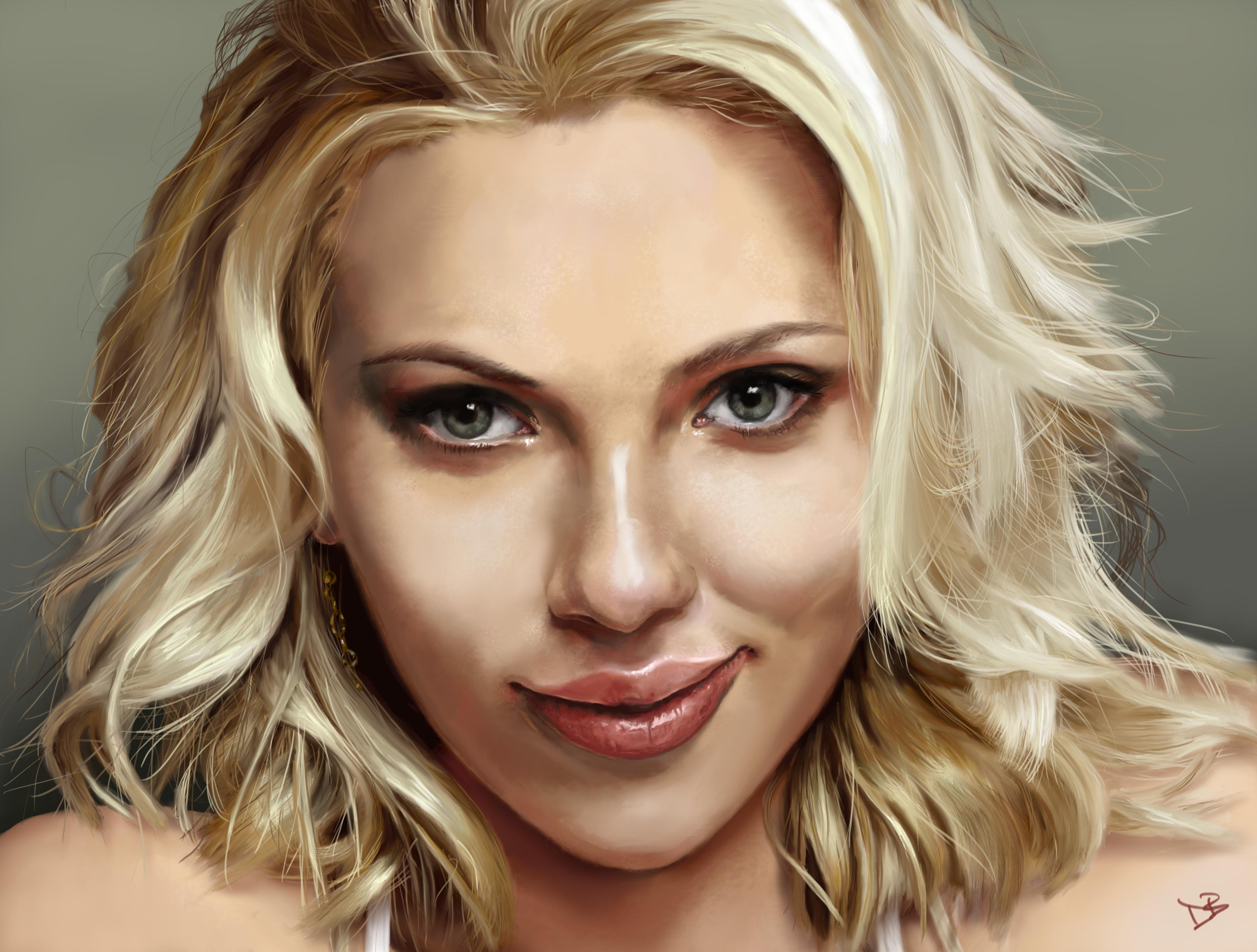 Scarlett Johansson Portrait Updated By Daveastation On Deviantart