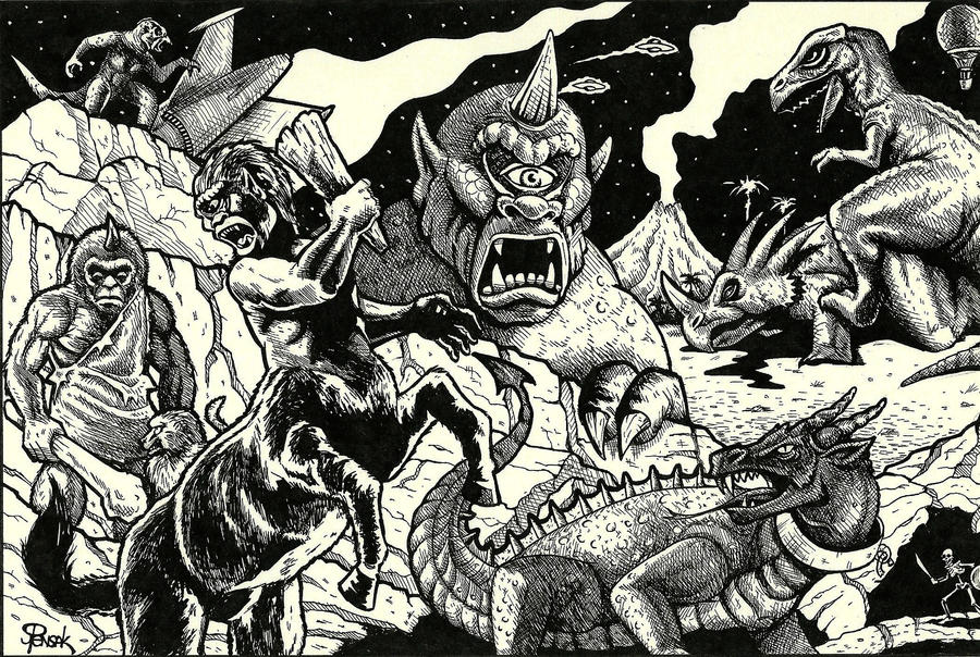Ray Harryhausen Tribute Art by JollyGorilla