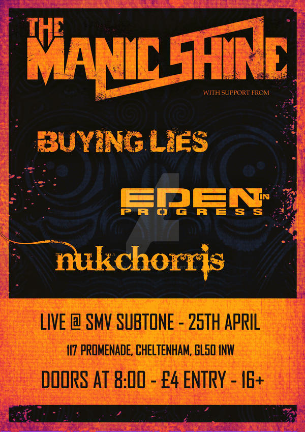 The Manic Shine @ Subtone Gig Poster by BenjaminSorrow