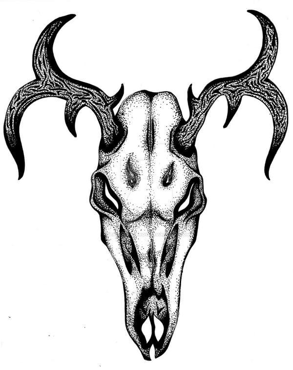 Dark Deer Skull - Pen/Pointillism Illustration by BenjaminSorrow