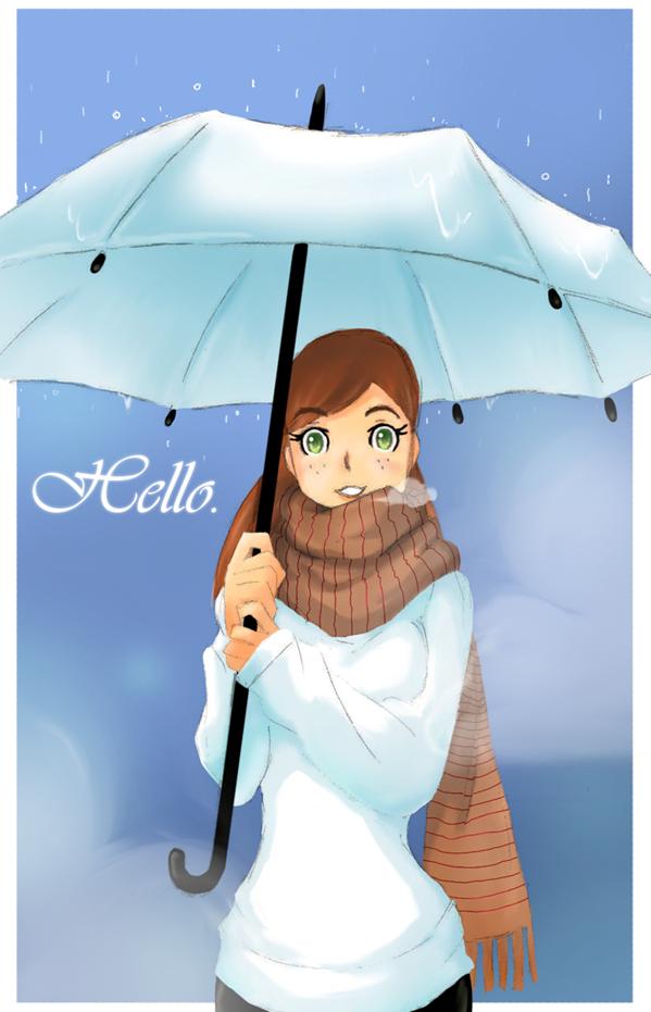 Hello in the rain by chocolatecherry