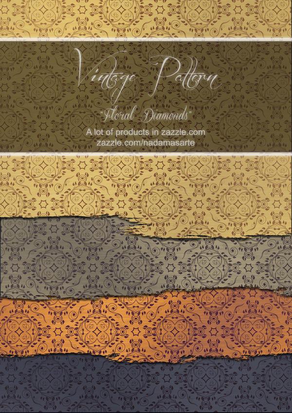 Vintage Pattern Floral Diamonds by nadamas