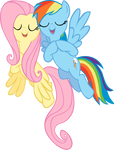 Singing Fluttershy and Rainbow dash vector