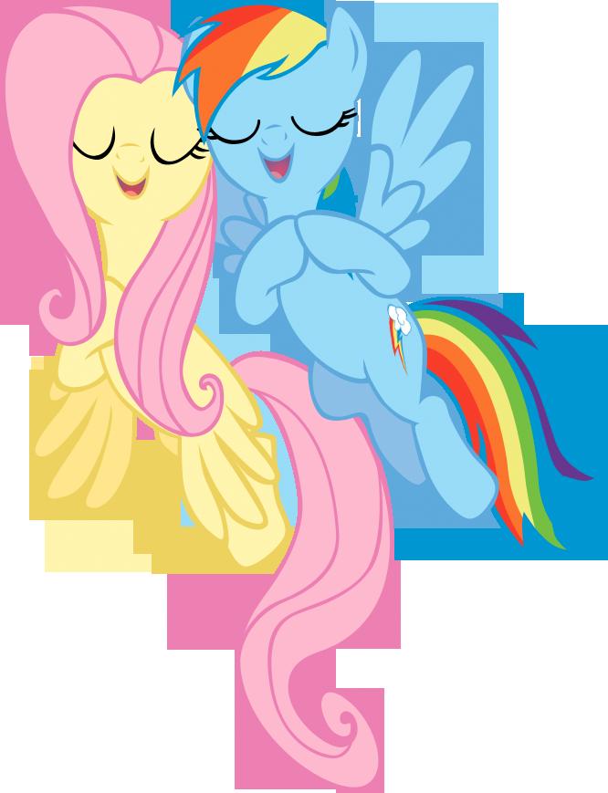 Singing Fluttershy and Rainbow dash vector by rhubarb-leaf