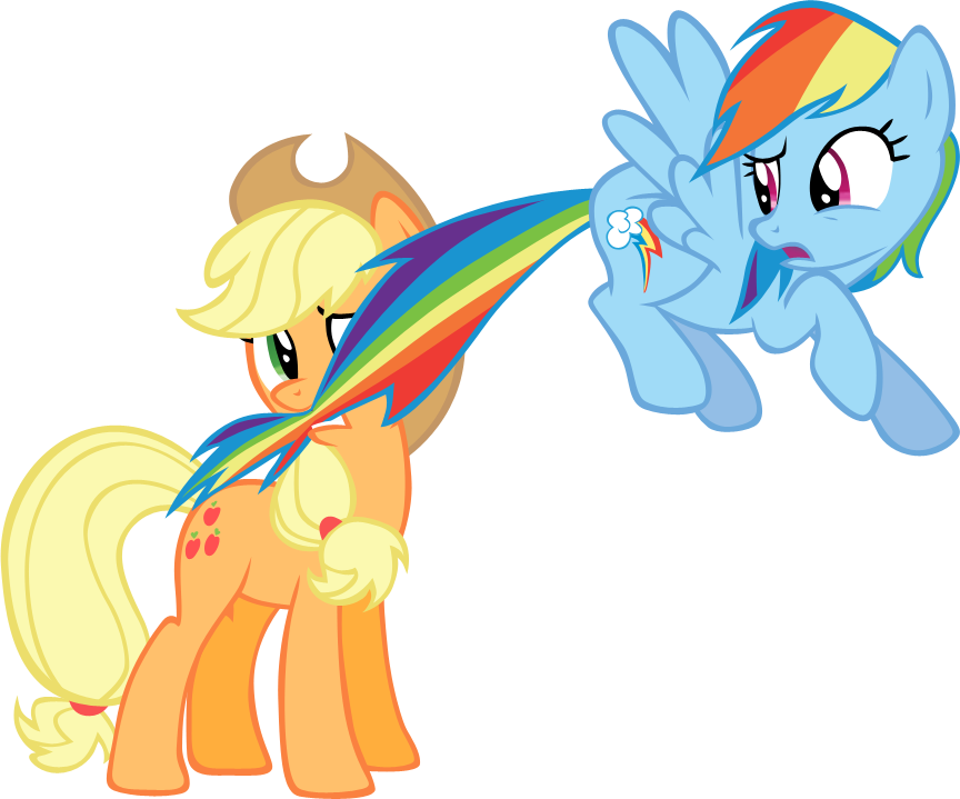 Applejack chewing on Dashie's tail vector by rhubarb-leaf