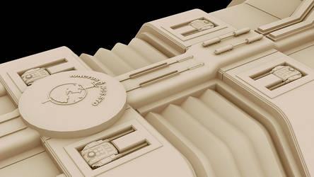 F3D-Kraken 17a closeup of gun turrets by Greywolf-Starkiller