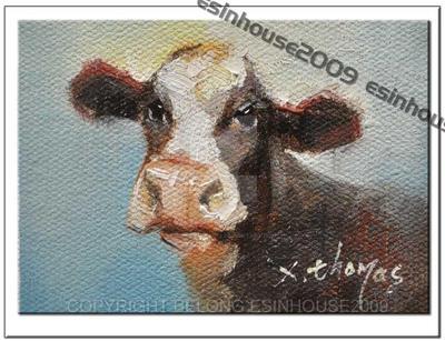 ACEO Farm Cow Portrait by esinhouse2009