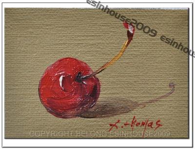 Fruit cherry painting original by esinhouse2009