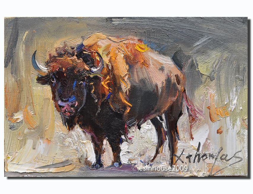 American bison12x18cm by esinhouse2009