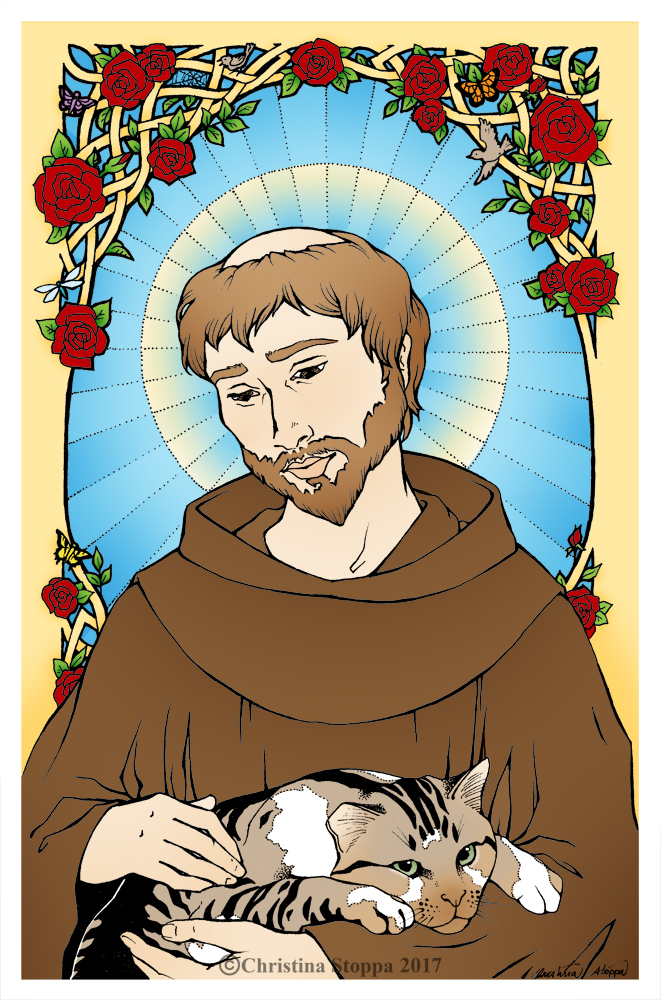 St Francis of Assisi Pray for Us by Qiu-Ling