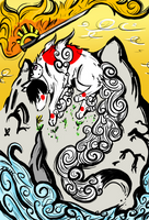 Okami Where the Sun Rises by Whitewolfkitsune
