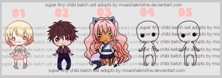 [CUSTOM ADOPT 4 U] Super Tiny Chibi Collection Set by msaishakristine