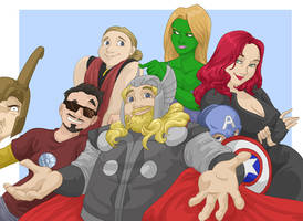 Fatty Thor and the Avengers by shinga