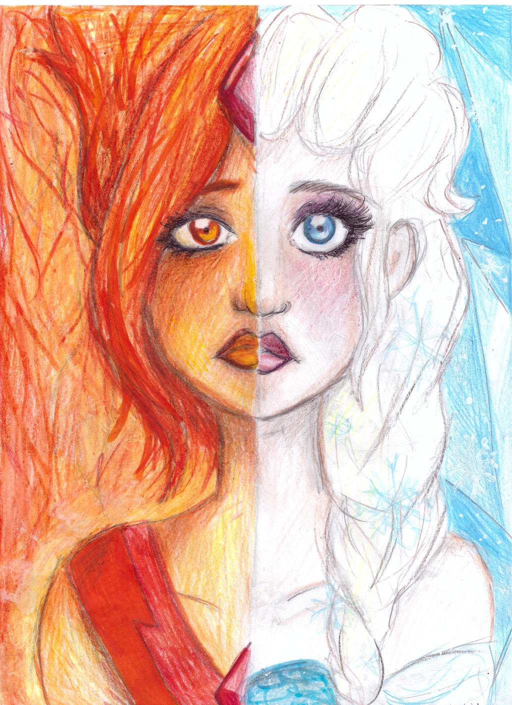 How To Draw Easy Fire Flames Ice and fire-elsa and flame