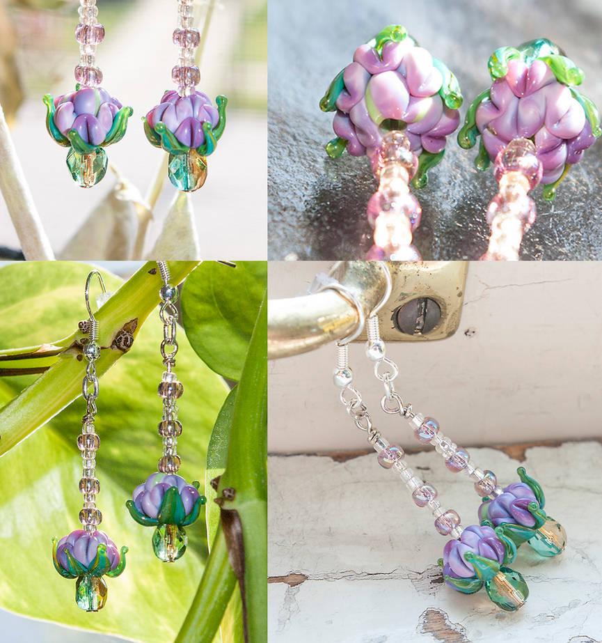 Purple Flower Earrings, Handmade Lampwork Glass by copperrein