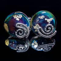 Wirewrapped glass cufflinks by copperrein