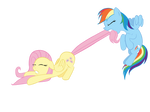 Rainbow Dash Dragging Fluttershy Vector by invokeartsense