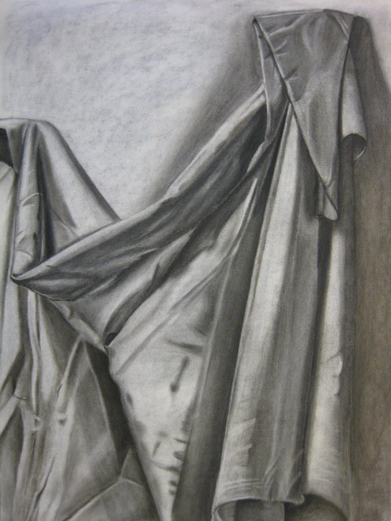 fabriccurtain stilllife charcoal drawing by aprilj0313